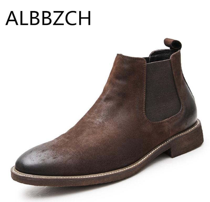 Nieuwe Chelsea nubuck leer mannen laarzen retro enkellaarsjes retro Engeland trend mens business jurk werk laarzen bruiloft schoenen mannen