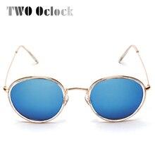 6d581dc6ec TWO Oclock Brand Designer Round Mirrored Sunglasses Women Wire Frame  Sunglass Men Vintage Reflective Sun Glasses Shades 3475w