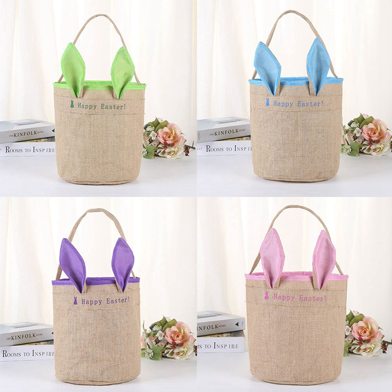 10pc Lovely Cotton/Jute Easter Bunny Ear Bag Holiday Tote Ha