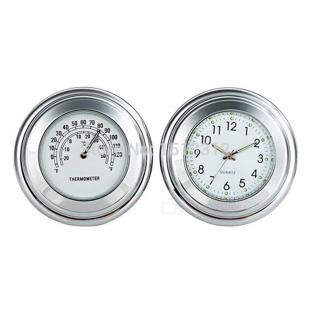 22-24mm NEW Motorcycle Handlebar Mounted Clock + Thermometer Set for Harley, Honda, Yamaha & More Shipping