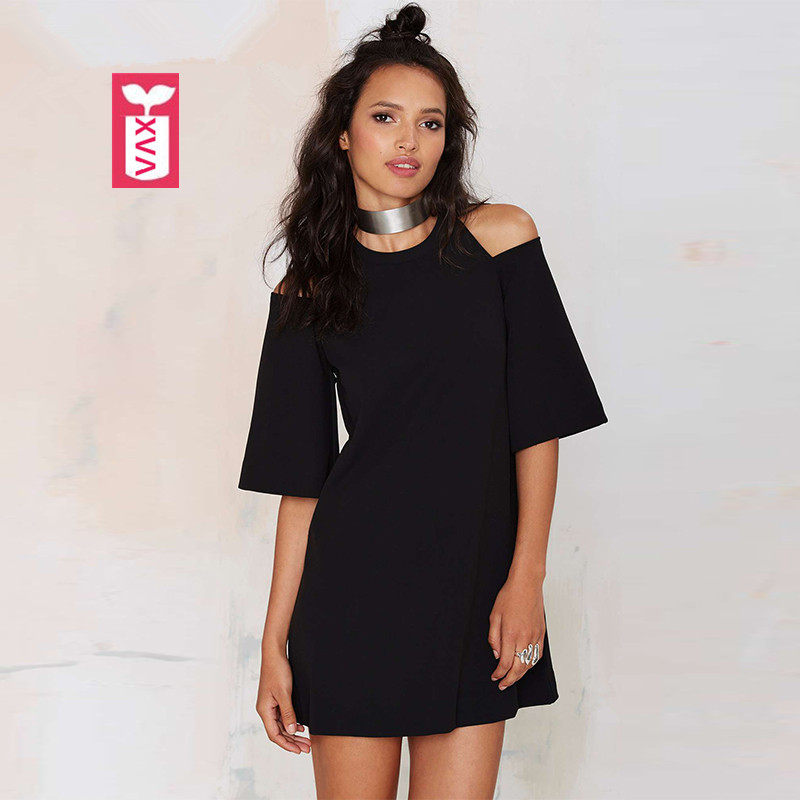 Clearance Sale Super Fashion 2018 OL Hollow Out Shoulder Ladys Office Formal Dresses Womens Black Leisure loose party dress