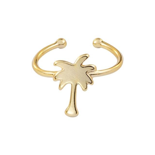 2017 Silver Rose Gold Tropical Palm Tree Rings For Women Men Boho