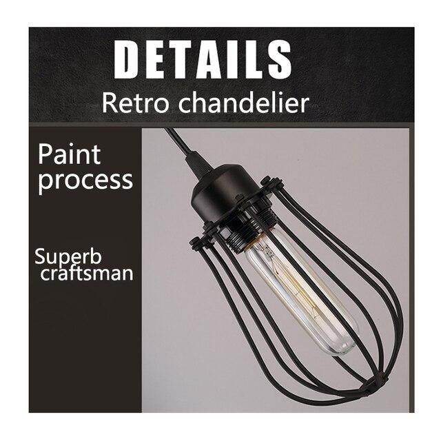 Vintage cage chandelier  Edison light bulb loft  Restaurant Bedroom Pendant LED lighting industry Vintage iron Lamps for home 6