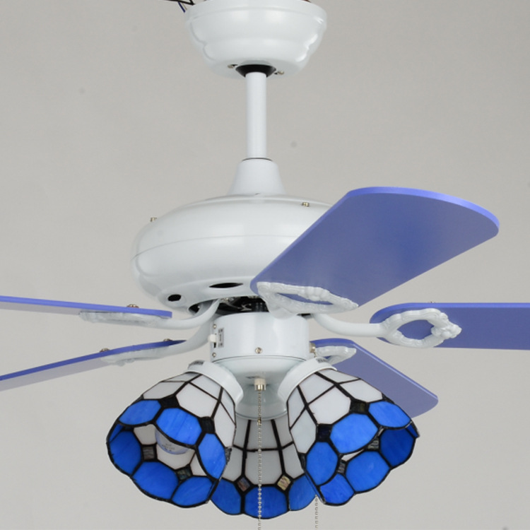 Five leaf white blue ceiling fan light three lights mediterranean five leaf white blue ceiling fan light three lights mediterranean tiffany in ceiling fans from lights lighting on aliexpress alibaba group aloadofball Images