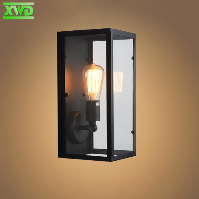 Vintage Glass Iron Indoor Wall Lamp Industry / Club / Jídelna / Foyer / Shop Lighting E27 Lamp Holder 110-240V Doprava zdarma