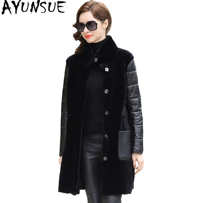 AYUNSUE Real Fur Coat Women 2019 New Double-faced Natural Sheepskin Coats Long Warm Genuine Leather Winter Down Jackets BT7362