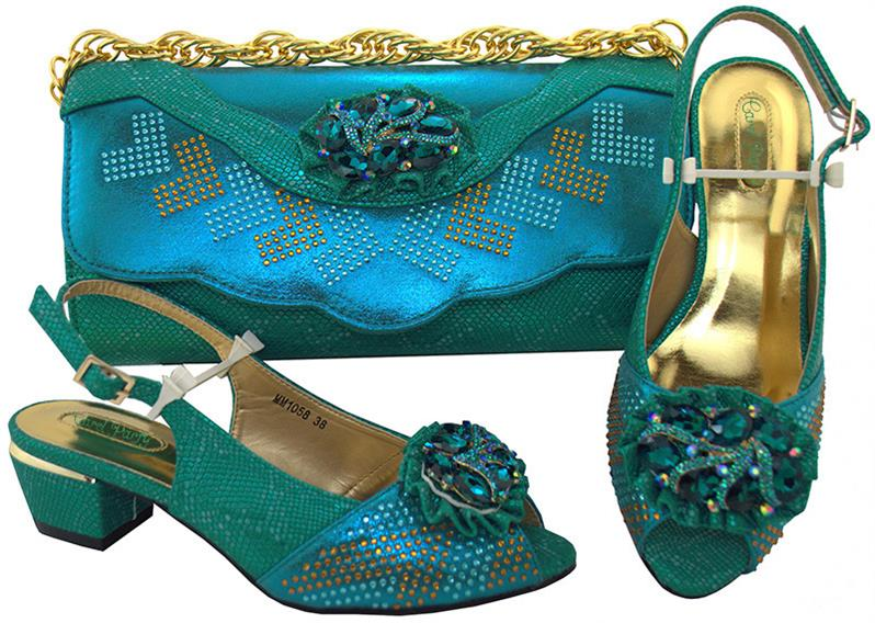 New Arrival Rhinestone Italian Shoes And Handbags Set African Style Low Heels Shoes And Bag Matching Set  MM1058 Med Heel