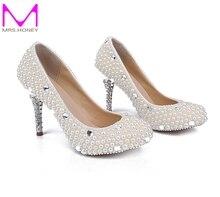 3 Zoll Einzigen Schuhe Weiß Perle Brautjungfer Schuhe Hochzeit Braut High Heel Schuhe Stilettlo Ferse Hochzeit Feier Partei Pumpen