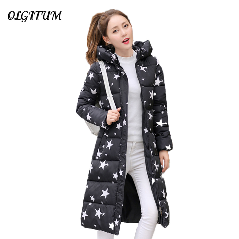 2017 Winter New Cotton Padded Jacket Coat Women  Slim Thick Stars Print Female Coat Parka Warm Long Jackets Ladies Overcoat new women winter jacket cotton padded thick stars print female hooded coat parkas warm winter long womens jackets and coats