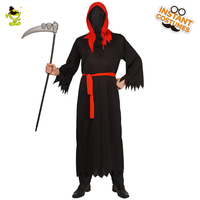 Adult Man Halloween Party Death Messenger Roleplay Costumes Outfits for Devil Man Dress from the Hell with Red Hood