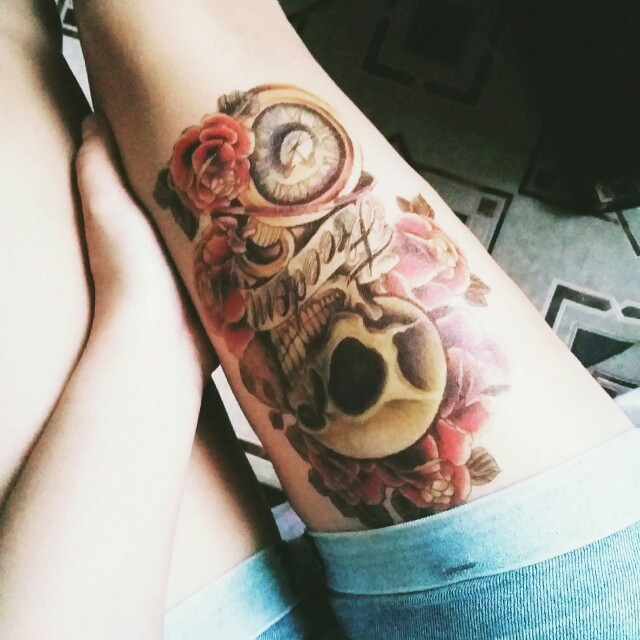 1pc Waterproof Men Temporary Tattoo Arm Sticker Sleeve Sexy Punk Skull Pattern Temporary Tatto Body Tattoo Shoulder Tattoos