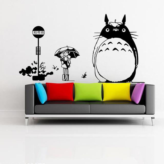 HUAIDE Japanese Cartoon Totoro Wall Decal My Neighbor Totoro Wall Stickers  For Kids Rooms Home Bedroom