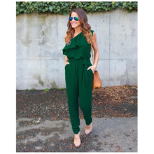BFYL Women New Summer Ruffles Chiffon Jumpsuits Overalls Sexy Casual One Shoulder Lotus collar Long Bodysuit Playsuits