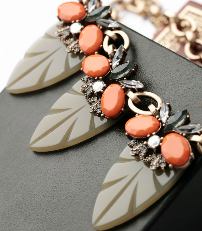 Fashion Indian Jewelry Necklace aliexpress Orange Resin Gem Gray Leaf Necklace Collier Femme Accessories