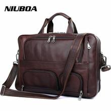 Мужская сумка из натуральной кожи высшего качества, винтажная большая функциональная дорожная сумка через плечо, деловая сумка для ноутбука в западном стиле