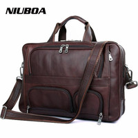 Men's Genuine Leather Handbag Top Level Quality Vintage Big Functional Travel Shoulder Bag Western Business Laptop Messenger Bag