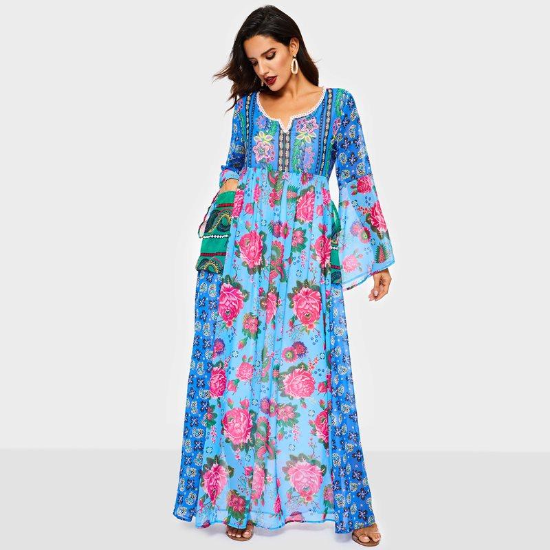 184040a66d Vintacy długa sukienka z kwiatowym wzorem lato kobiety 2019 moda Boho plaża  luźna z długim rękawem