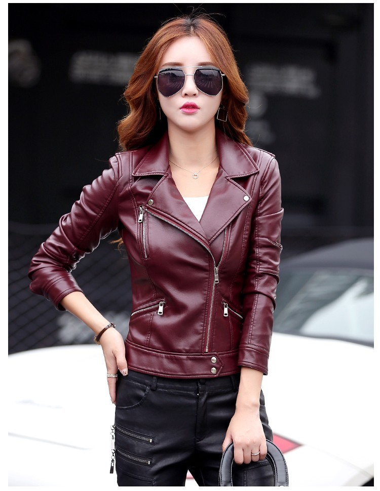 2018 Autumn Winter Women   Leather   Coat Black Red Gray Plus Size M-5XL Fashion Female Slim Short   Leather   Jacket Outerwear