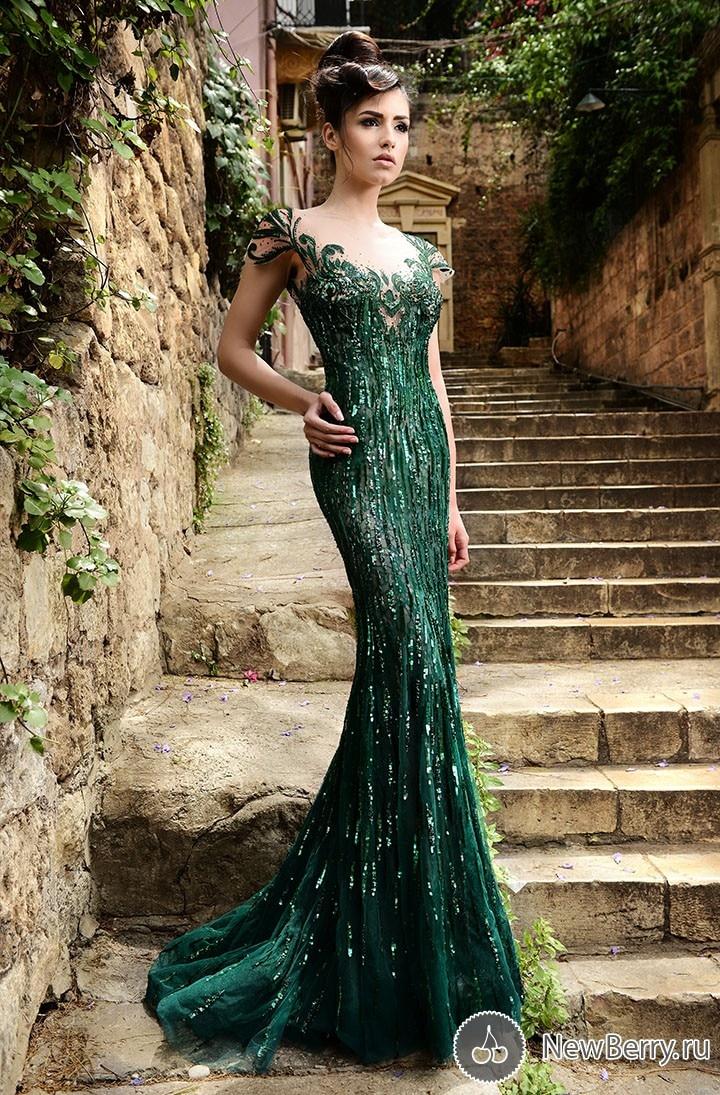 F11121 Russian Mermaid Formal Evening Gowns Hunter Green Sheer Neck ...