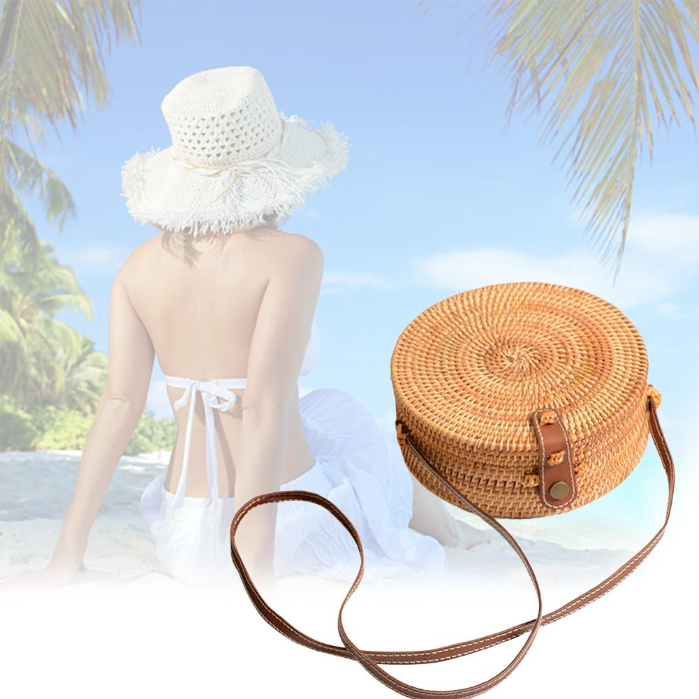 Image 2 - 2019 Ladies Handbag New Round Straw Bag Large Summer Rattan Sack Hand woven Beach Handbag Lady Slanting Pouch-in Storage Bags from Home & Garden