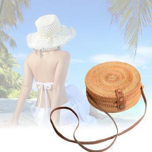 Image 2 - 2019 Ladies Handbag New Round Straw Bag Large Summer Rattan Sack Hand woven Beach Handbag Lady Slanting Pouch