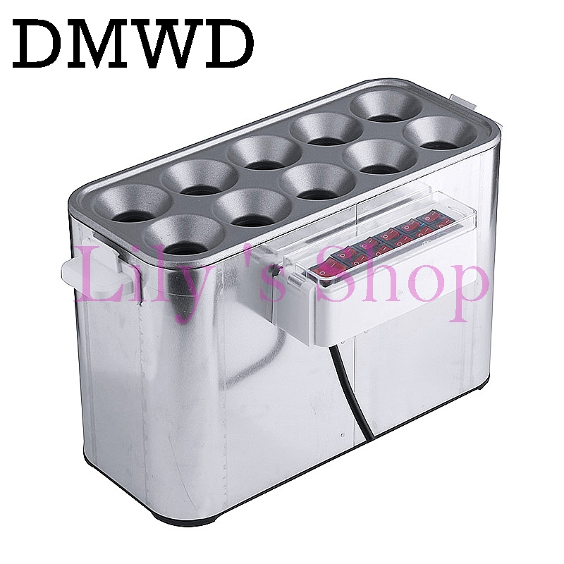 DMWD Commercial egg Sausage Cooker hot dog maker Eggs omelet roll Master electric Egg Boiler cup breakfast machine 10 holes EU 220v 600w 1 2l portable multi cooker mini electric hot pot stainless steel inner electric cooker with steam lattice for students