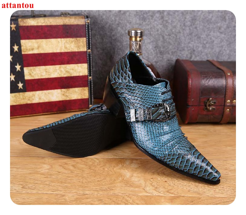 Hot Sale Blue Snakeskin Pointed Toe Men Dress Shoes Lace Up Leather Shoes Luxury Male Casual Shoes Man Office Feast Formal Shoes hot sale blue snakeskin pointed toe men dress shoes lace up leather shoes luxury male casual shoes man office feast formal shoes