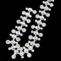 1 Yard Crystal Strass Trimmen Bruids Zilveren Applique Voor Trouwjurk Steentjes Ketting
