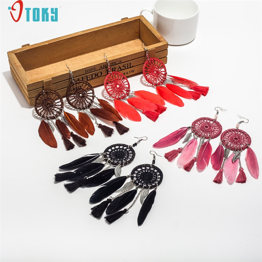 OTOKY Gussy Life New Bohemia Feather Beads Long Design Dream Catcher Earrings for Women Jewelry Mar14