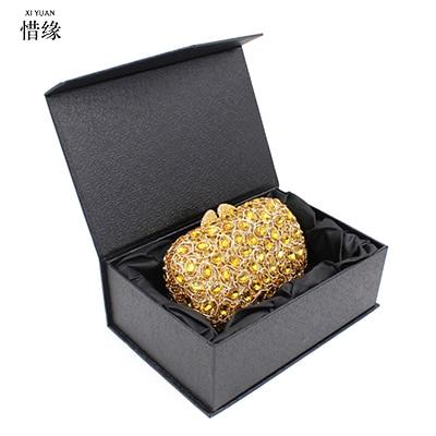XIYUAN BRAND Gorgeous Gold Evening Clutch Bag for Women Rhinestone Crystal Clutch Evening Bridal Purse <font><b>China</b></font> Handmade with chain