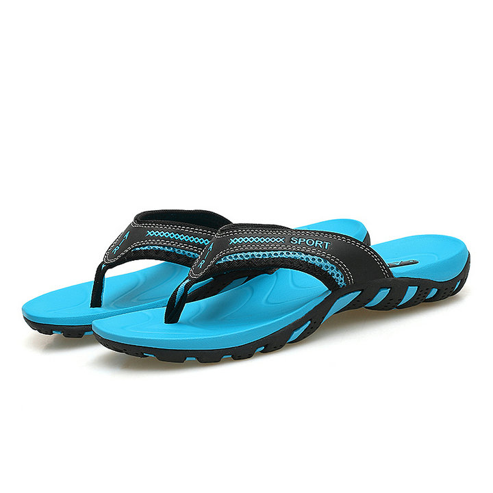 High Quality Fashion Mens Two Color Eva Enject Sports Slippers Flip Flops Soft Lightweight Plus Size Beach Slipper