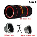 Universal 5in1 Kit de Lentes de Cámara Del Teléfono 8x Telefoto Lente ojo de Pez lentes de ángulo macro trípode para iphone 5 6 6 s 7 plus samsung