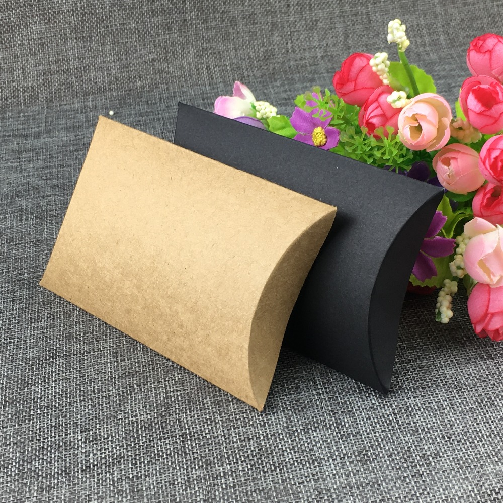 200PCS 3x5Pillow-shape Jewelry BOX Kraft Pillow Gift BOX For Earring /Necklace /Ring /Jewelry Set /Handmade rope/Tea/Crafts