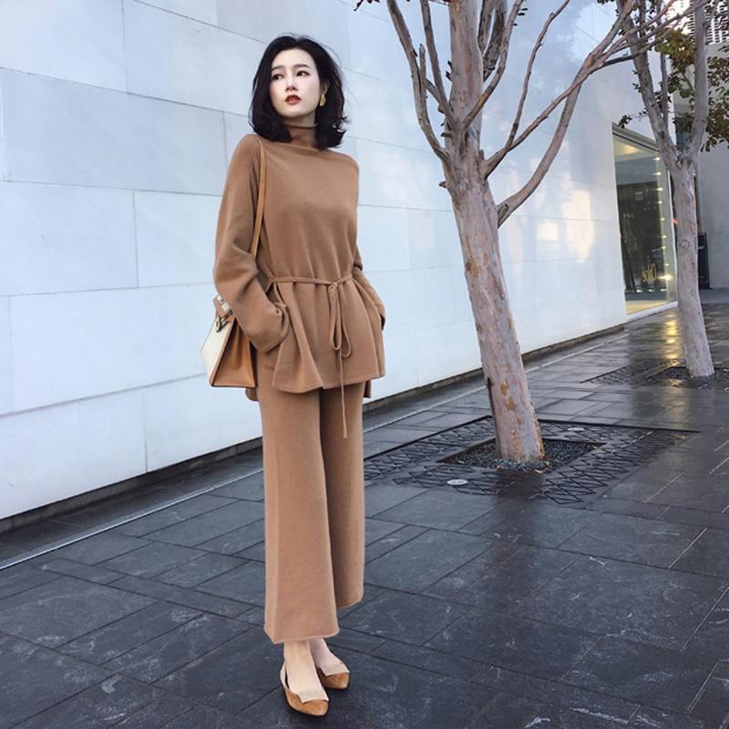 Women 2 Piece Pant  Kintted Set 2018 Autumn Winter Runway Fashion Casual Pants Suit  Top+Pants Knit Suit Set