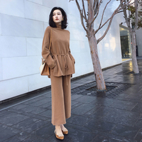 Women 2 Piece Pant kintted Set 2018 Autumn Winter Runway Fashion Casual Pants Suit top+Pants wool blends Knit suit set