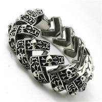 BC0226 Fashion 147g Heavy Huge Skull Men Bracelet 316 Stainless Steel Hot Sale Wholesale Cool Punk Style Top Skull Bracelet