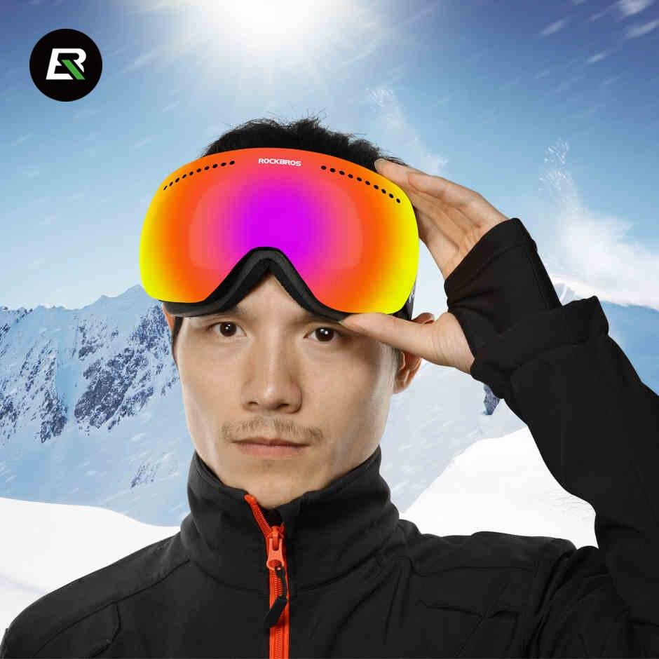 ROCKBROS Professionnel Double-Couche de Neige UV-Protection Multi-Couleur Anti-brouillard Ski Eye Wear Snowboard Ski lunettes Lunettes