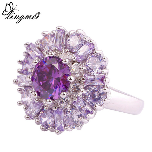 Charming Flower Purple Tourmaline Colour Ring