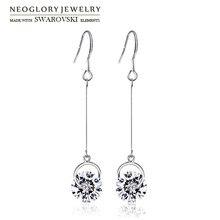 Neoglory Австрийские кристаллы и стразы висячие серьги длинные элегантные красочные круглые бусины для Для женщин Мода подарок классика повседневные по доступной цене