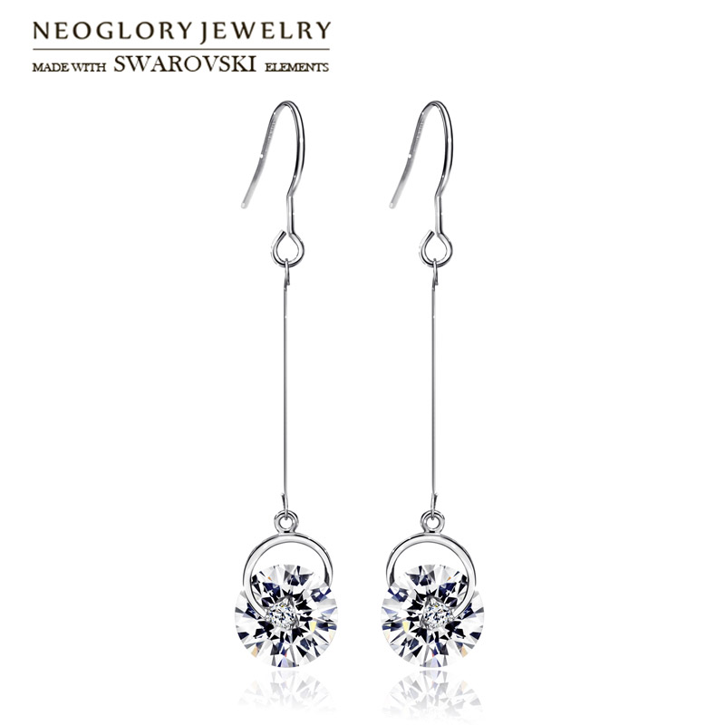Neoglory Austria Crystal & Rhinestone Drop Earrings Long Elegant Colorful Ball Beads For Women Trendy Gift Classic Daily Sale