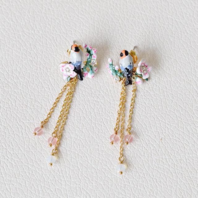 Les Nereides Esmalte Moda Jóias Brincos Do Parafuso Prisioneiro Para A Menina Tweet aves Belas flores de Cerejeira Flores Borla Acessórios