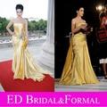 Dita Von Teese tapete vermelho vestido de cetim amarelo celebridade vestido de noite Formal feminina vestido de baile