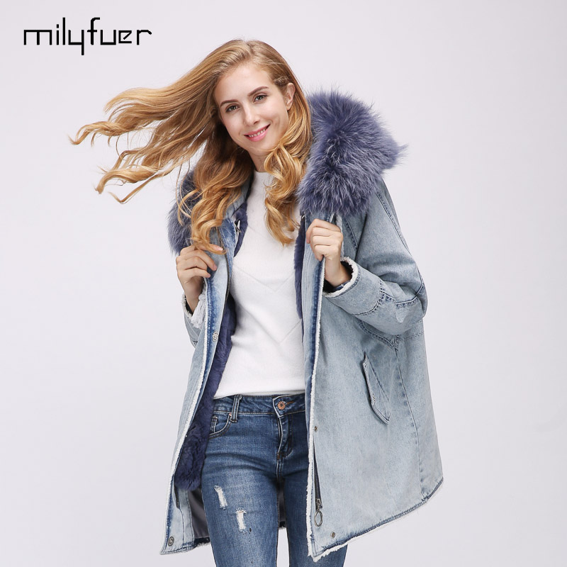 Milyfuer Fur Jeans Mixed Parka Women Solid Light Blue Pink Full Sleeve Raccoon Fur Collar Rabbit Fur Inside Casual Coats Parkas цены онлайн