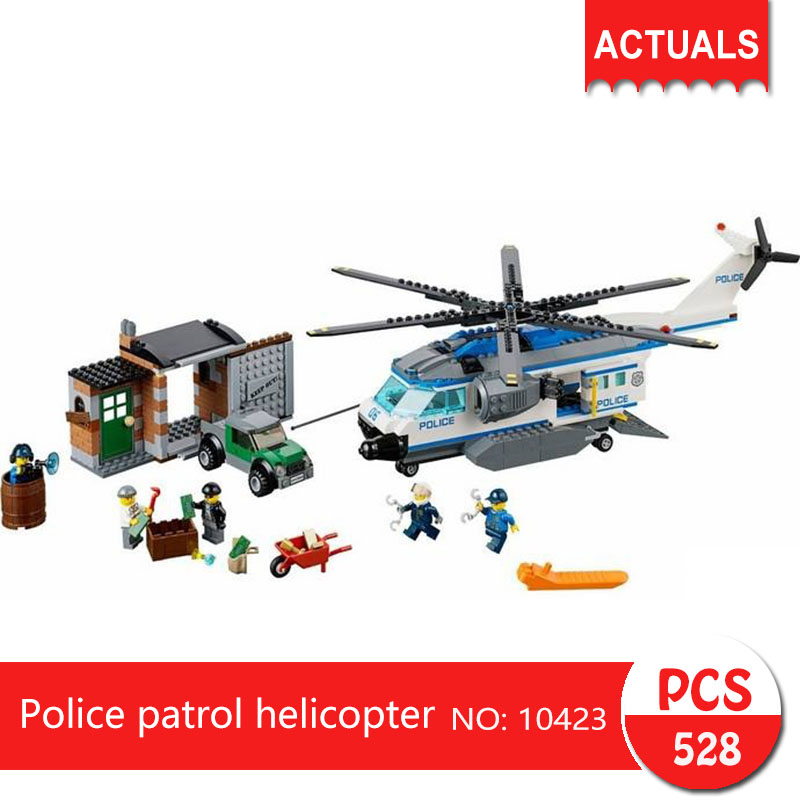 bela 10423 528Pcs City series Police patrol helicopter Model Building Blocks  Bricks Toys For Children Gift 60046 compatible lepin city block police dog unit 60045 building bricks bela 10419 policeman toys for children 011