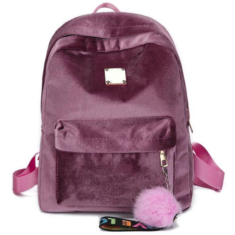 Velour Bag Women School Bags Velvet Lady Casual Pretty Cute Bag Travel BagVelour Bag Women School Bags Velvet Lady Casual Pretty Cute Bag Travel Bag