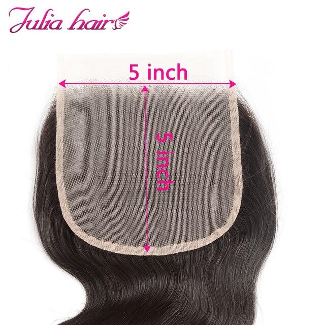 Brazylijska doczepy typu body wave z przezroczystym zamknięciem 5*5 Cal koronka Ali Julia Remy ludzki włos wyplata 3 lub 4 wiązki z zamknięciem