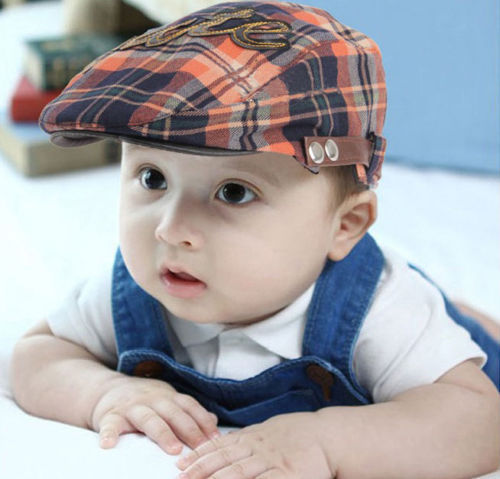 Baby Boy Kids Toddler Plaid Beret Cap Cabbie Casquette Pageboy Flat Peaked  Hat Handsome boy cut gift c2e48e7d0ac