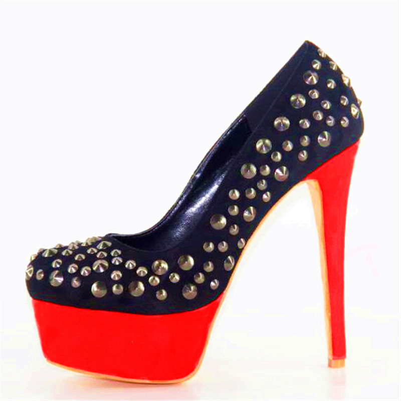 Mince Rond Initiale Talons Rivets Chaussures Nous L'intention Taille 5 Pompes Femmes 10 Super Bout Élégant Plus Ef0337 4 Haute Belle Noir Femme SWwCzqd