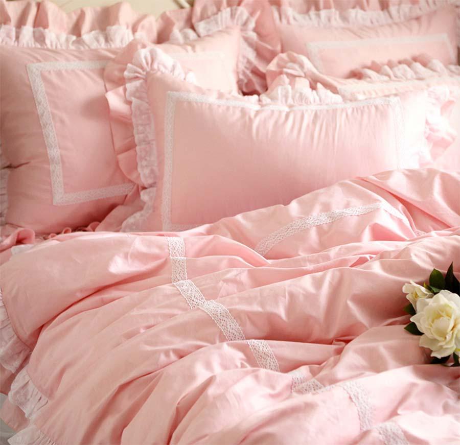 Розовое платье принцессы рюшами кружево хлопок один двуспальная кровать хлопок комплект, две Полный Королева Король постельное белье покр