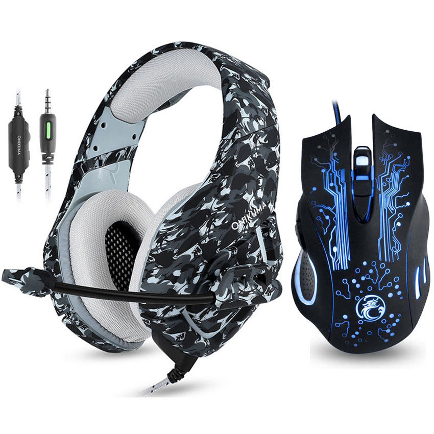 ONIKUMA K1 Camouflage PS4 Gaming Headset with Mic Bass Stereo Game Headphones 7 Buttons 5000 DPI LED Light Pro Gaming Mouse in Headphone Headset from Consumer Electronics